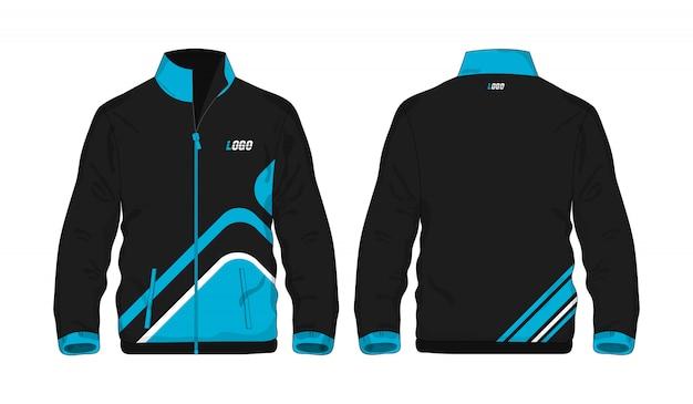 Modèle De Veste De Sport Bleu Et Noir Pour La Conception Sur Fond Blanc. Illustration Vectorielle Eps 10. Vecteur Premium