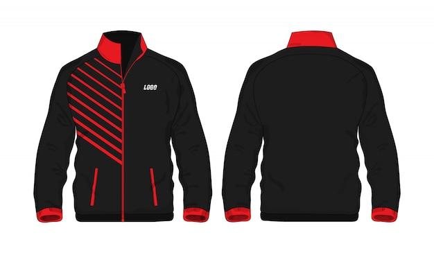 Modèle De Veste De Sport Rouge Et Noir Pour La Conception Sur Fond Blanc. Illustration Vectorielle Eps 10. Vecteur Premium
