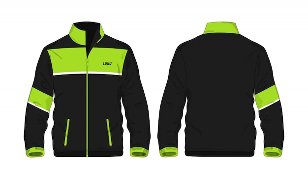 Modèle De Veste De Sport Vert Et Noir Pour La Conception. Vecteur Premium