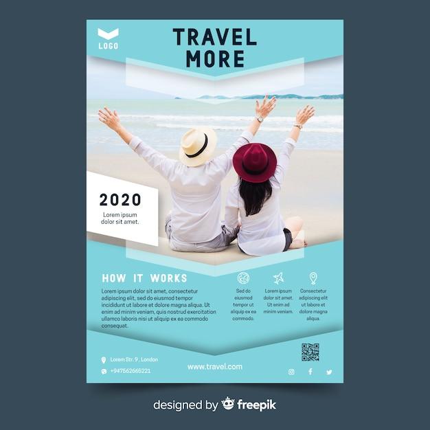 Modèle vibrant de flyer de voyage avec photo Vecteur gratuit