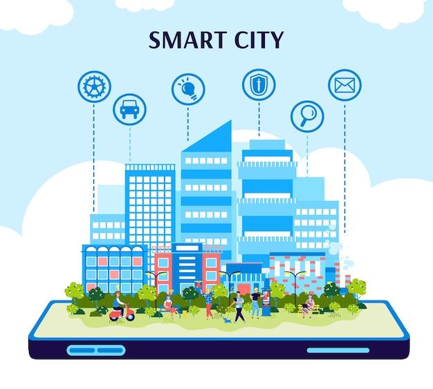 Modèle De Ville Intelligente Avec Paysage Urbain Sur L'écran Du Téléphone Mobile Vecteur Premium