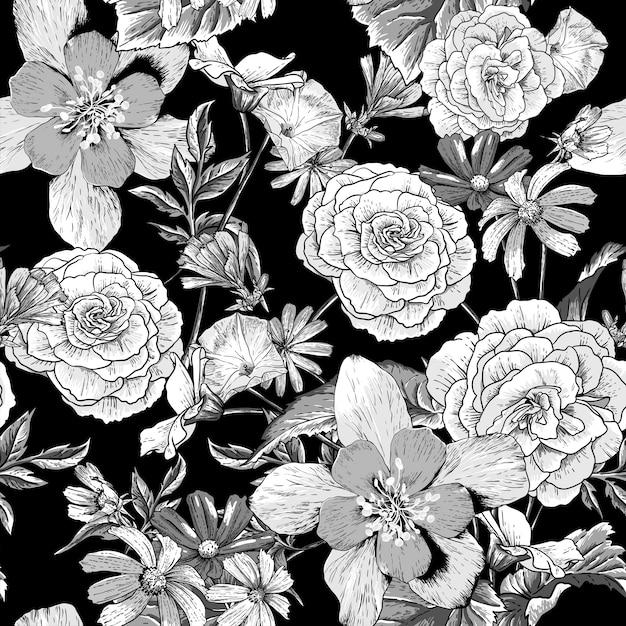 Modèle vintage avec des fleurs épanouies Vecteur Premium