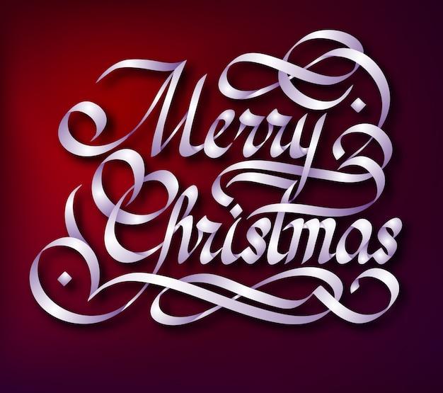 Modèle De Voeux Typographique Avec Manuscrite Célébrant L'inscription De Joyeux Noël Vecteur gratuit