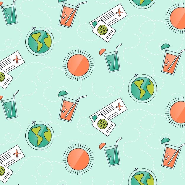Modèle de voyage avec des éléments et des lignes en pointillés Vecteur gratuit