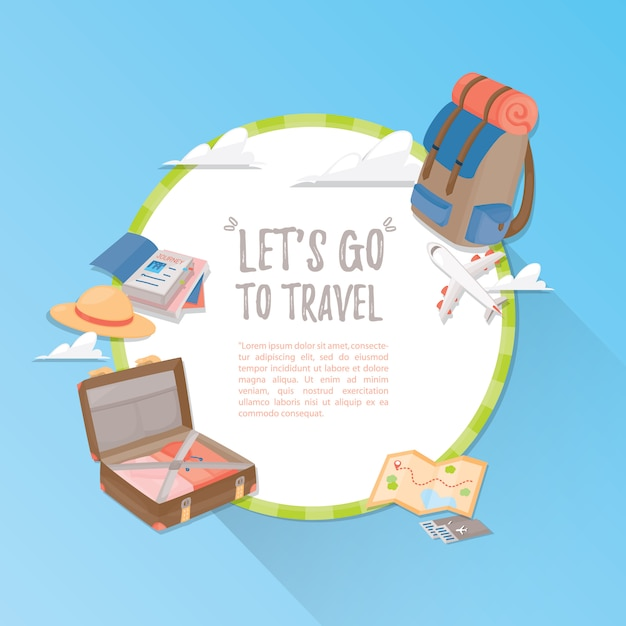 Modèle De Voyage. Voyage Et Tourisme . Vecteur Premium