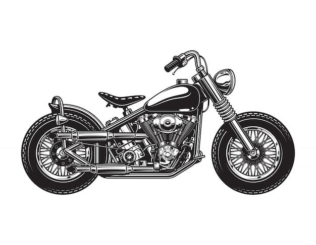 Modèle De Vue De Côté Moto Chopper Vintage Vecteur gratuit
