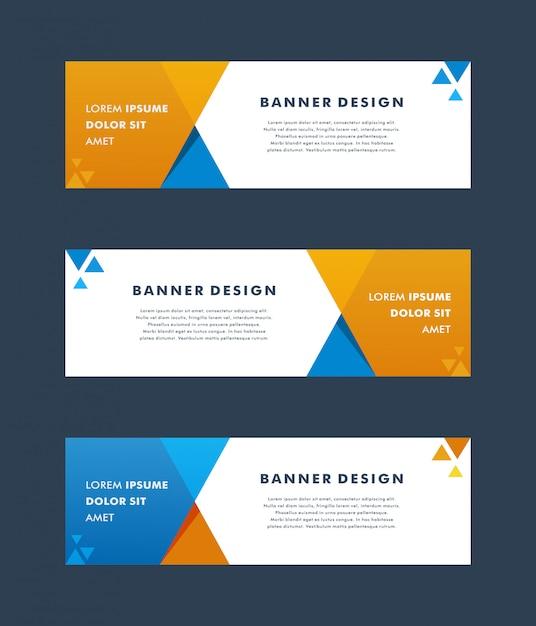 Modèle web de bannière design géométrique abstrait vector. - vecteur Vecteur Premium
