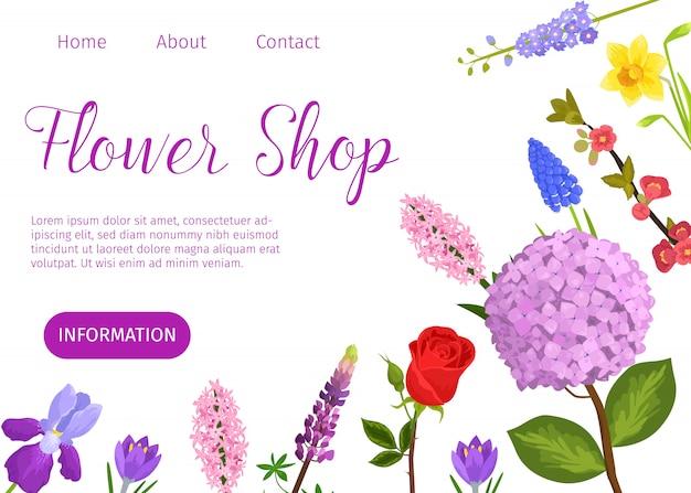 Modèle web de dessin animé de fleuriste vecteur. site de fleuriste avec jardin Vecteur Premium