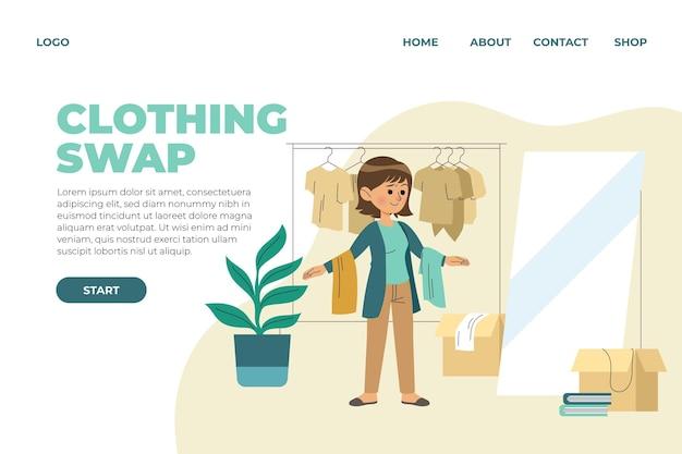Modèle Web D'échange De Vêtements Design Plat Vecteur gratuit
