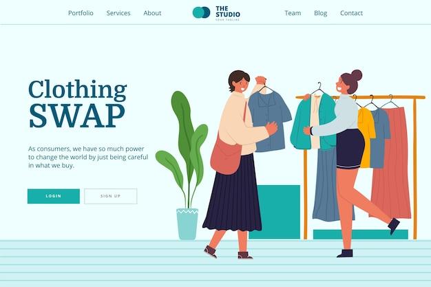 Modèle Web D'échange De Vêtements Dessinés à La Main Vecteur Premium