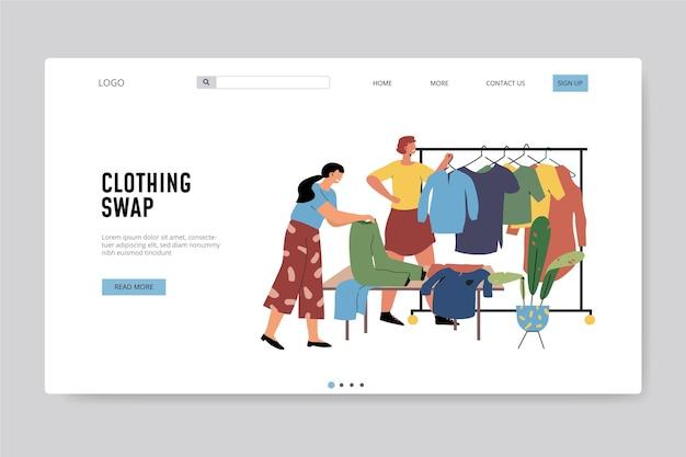 Modèle Web D'échange De Vêtements Dessinés à La Main Vecteur gratuit