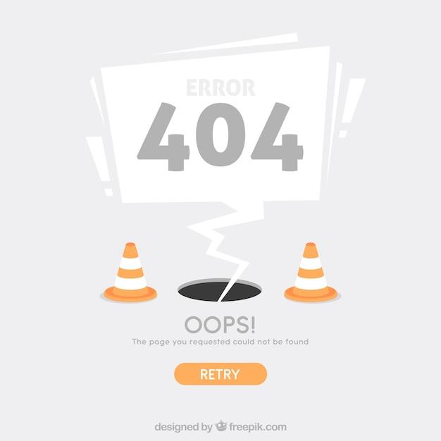 Modèle Web Erreur 404 Avec Des Cônes Dans Un Style Plat Vecteur gratuit