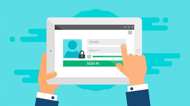 Modèle web de formulaire de connexion à la tablette Vecteur Premium