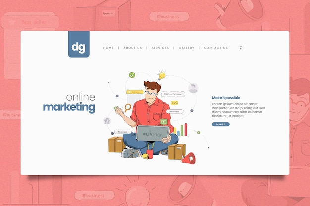 Modèle Web De Marketing En Ligne Illustré Vecteur gratuit