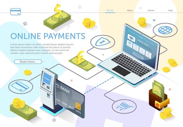 Modèle web de page de destination. carte bancaire au guichet automatique. système de paiement en ligne Vecteur Premium