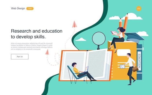 Modèle web de page de destination. concept d'éducation pour l'apprentissage, la formation et les cours en ligne. Vecteur Premium