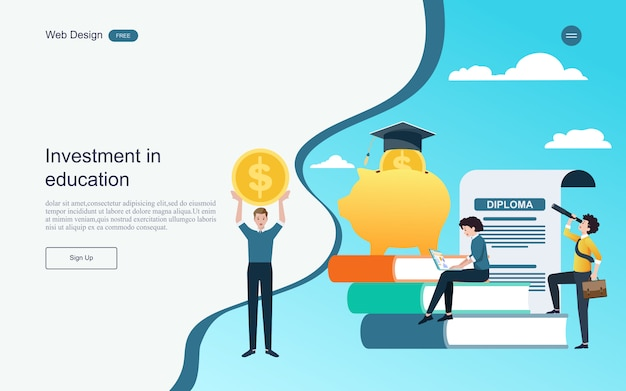 Modèle web de page de destination. concept d'investissement pour l'éducation en ligne d'apprentissage, de formation et de cours. Vecteur Premium