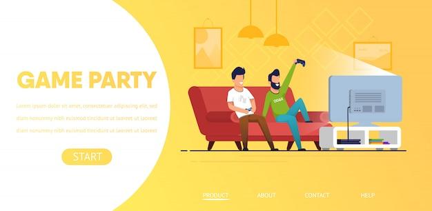Modèle web de page de destination. couple d'hommes jouant à des jeux vidéo à la maison Vecteur Premium
