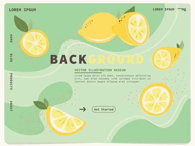 Modèle web de page de destination avec un design citron mignon Vecteur Premium
