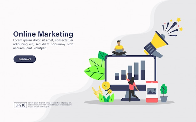 Modèle web de page de destination du marketing en ligne Vecteur Premium
