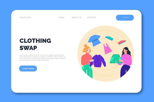 Modèle Web De Page De Destination D'échange De Vêtements Vecteur gratuit