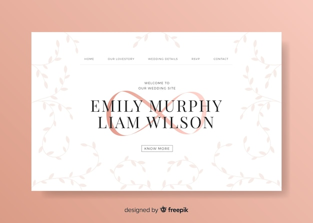Modèle Web De Page De Destination élégante Pour La Célébration De Mariage Vecteur gratuit