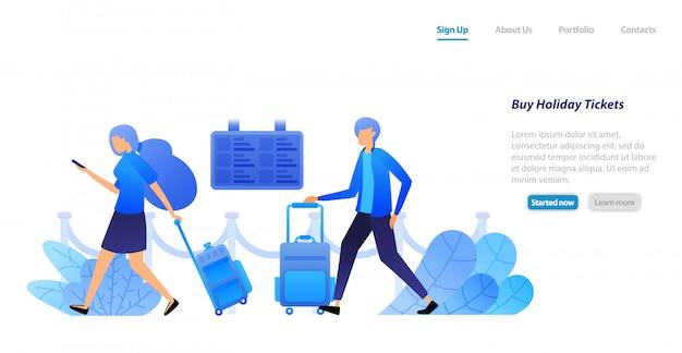 Modèle web de page de destination. les gens ont des valises en attente et font la queue pour acheter des billets de vols pour des vacances et des visites. Vecteur Premium