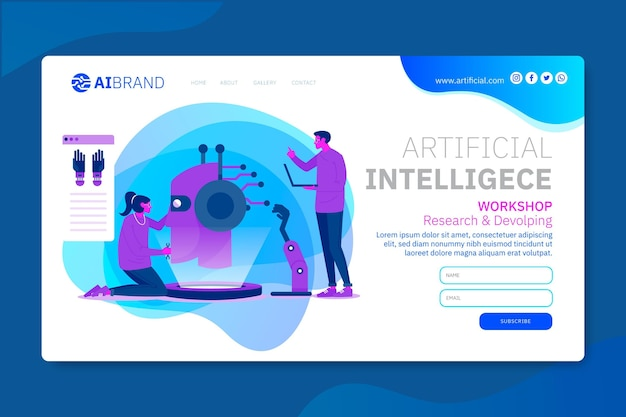Modèle Web De Page De Destination De L'intelligence Artificielle Vecteur gratuit