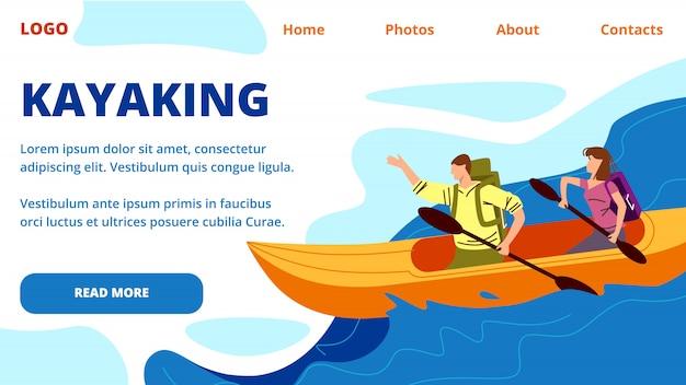 Modèle web de page de destination en kayak. jeunes gens row kayak Vecteur Premium