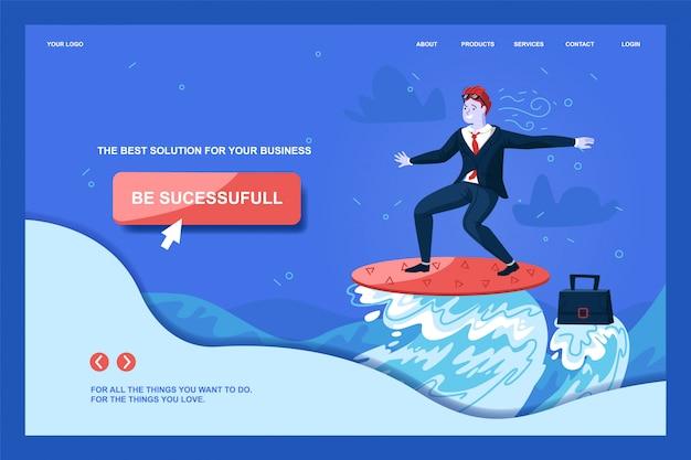 Modèle web de page de destination avec un personnage d'homme surfant sur ocean wave to goal. avoir du succès Vecteur Premium