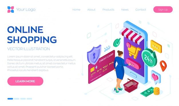Modèle web de page de destination pour les achats en ligne Vecteur Premium