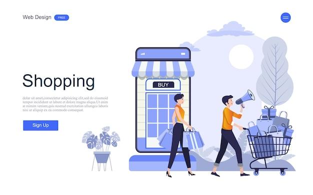 Modèle web de page de destination pour les achats et les services en ligne Vecteur Premium