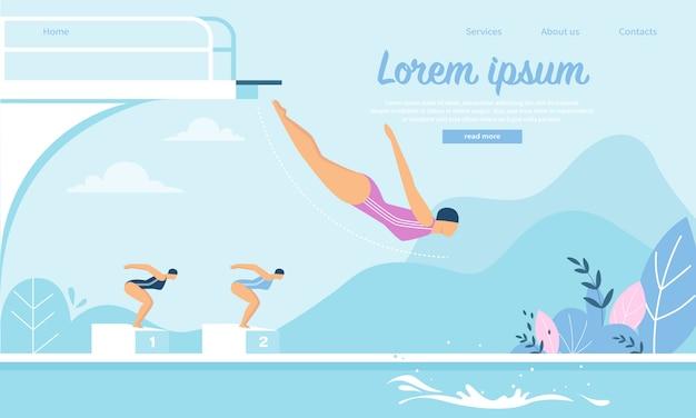 Modèle Web De Page De Destination Pour La Compétition De Natation Avec Des Jeunes Femmes Sportives Sautant Dans L'eau Vecteur Premium