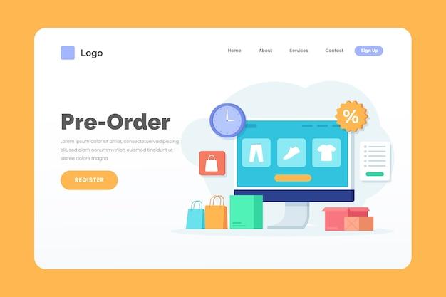 Modèle Web De Page De Destination De Précommande Vecteur gratuit