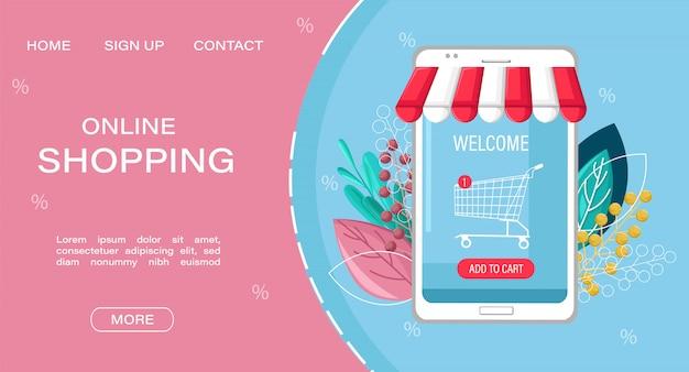 Modèle web de page de destination. shopping style plat vente app en ligne. Vecteur Premium