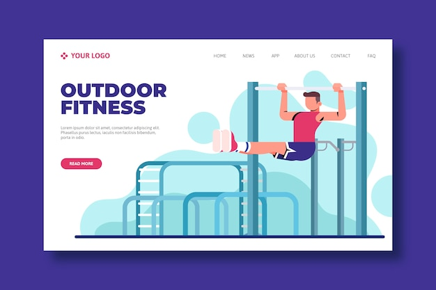 Modèle web de page de destination de sport en plein air Vecteur gratuit