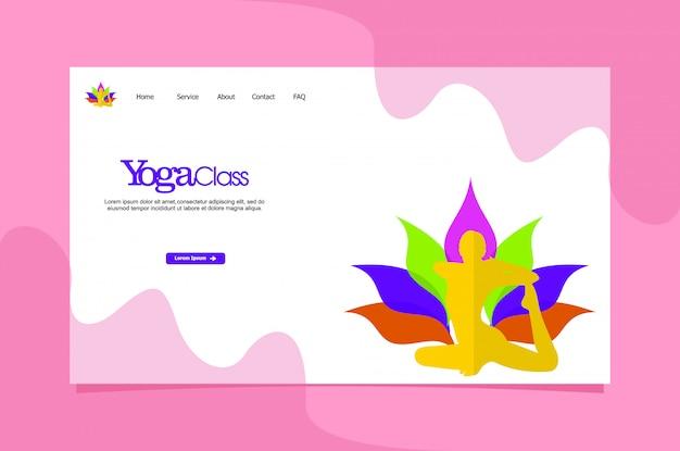 Modèle web de page de destination de yoga Vecteur Premium