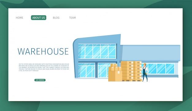 Modèle web de page de renvoi avec la conception de bâtiment d'entrepôt de travail en verre moderne Vecteur Premium