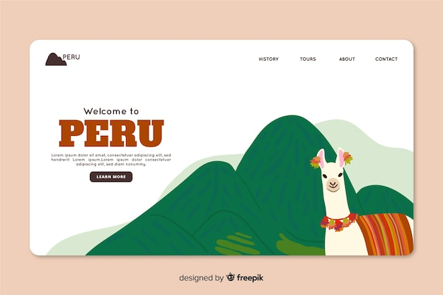 Modèle Web De Page De Renvoi Corporative Pour Une Agence De Voyage Au Pérou Vecteur gratuit