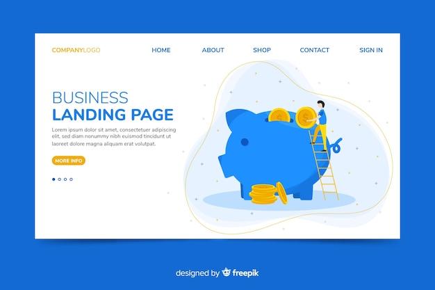 Modèle Web De Page De Renvoi Corporative Avec Thème D'économie D'argent Vecteur gratuit