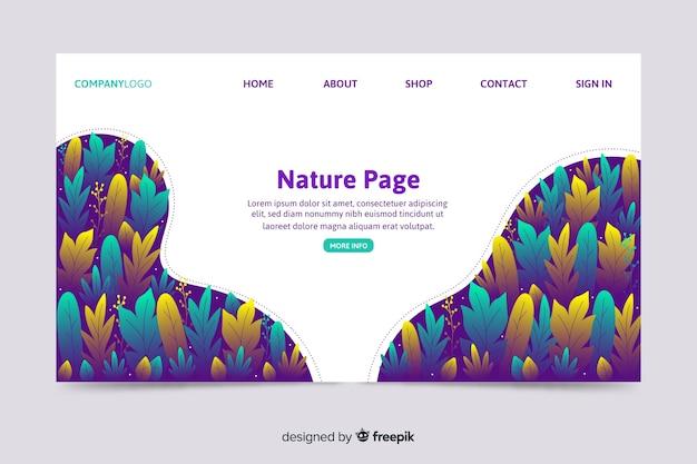 Modèle Web De Page De Renvoi Corporative Avec Un Thème De Nature Vecteur gratuit
