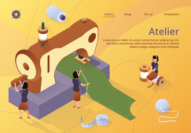 Modèle web de page de renvoi avec les femmes créent une tenue et des vêtements sur une machine à coudre Vecteur Premium