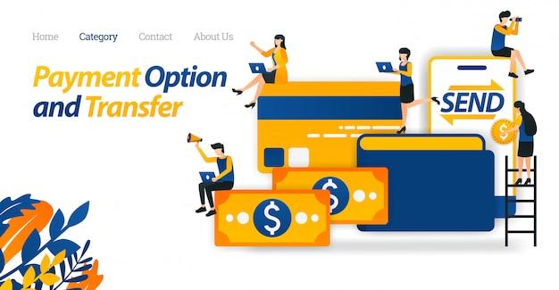 Modèle web de page de renvoi avec options de stockage, de transfert et de paiement avec argent, portefeuilles, cartes de crédit et mobile. Vecteur Premium