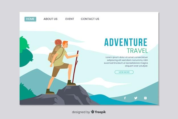 Modèle web pour la page de destination de l'aventure Vecteur gratuit
