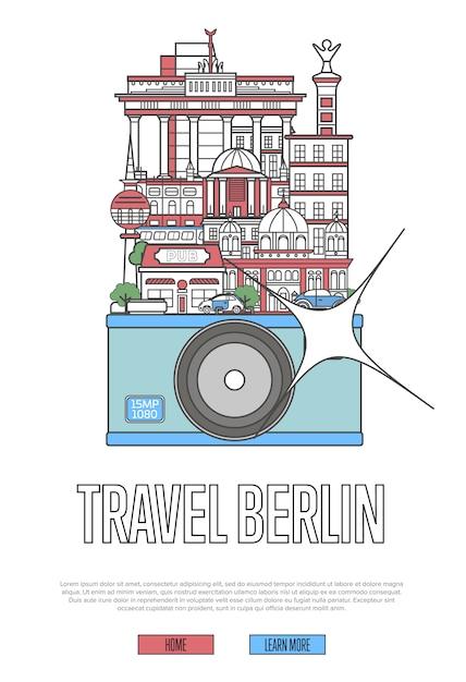 Modèle web de voyage berlin avec caméra Vecteur Premium