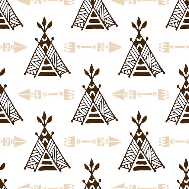 Modèle de wigwam sans soudure avec des flèches. modèle de tente amérindienne. Vecteur Premium