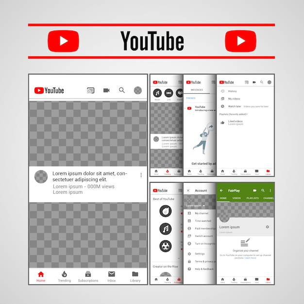Modèle youtube ux Vecteur Premium