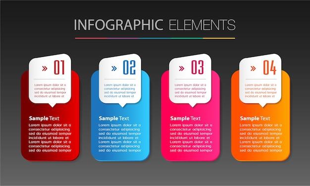 Modèle de zone de texte, bannière infographie Vecteur Premium