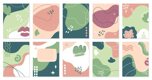 Modèles Abstraits Créatifs. Affiches Dessinées à La Main à La Mode, Invitation De Style Artistique Doodle De Médias Sociaux, Jeu D'illustration De Fond De Bannière. Modèle à Main Levée De Carte, Peinture Tendance Gribouillage Vecteur Premium