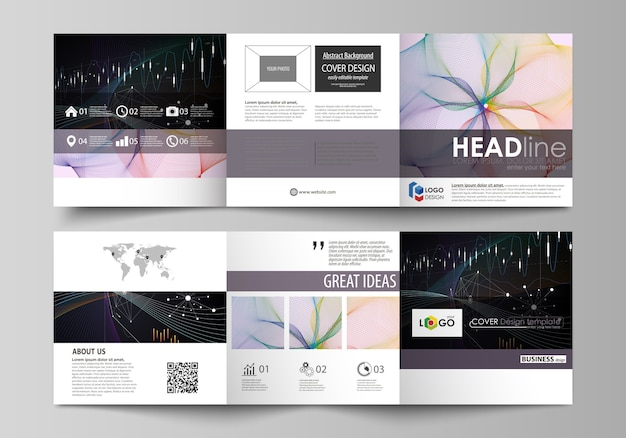 Modèles d'affaires pour les brochures de conception triples carrés. Vecteur Premium